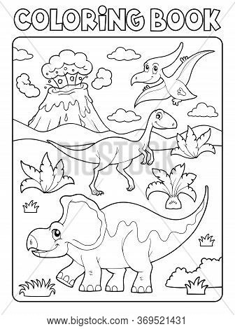 Coloring Book Dinosaur Composition Image 2 - Eps10 Vector Picture Illustration.