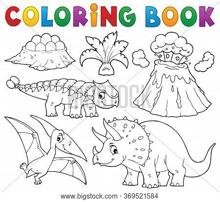 Coloring Book Dinosaur Subject Image 5 - Eps10 Vector Picture Illustration.