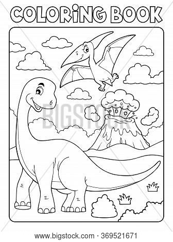 Coloring Book Dinosaur Subject Image 8 - Eps10 Vector Picture Illustration.