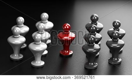 3d Illustration Of Two Groups Of White And Grey Pawns And A Mediator In The Middle. Abstract Concept