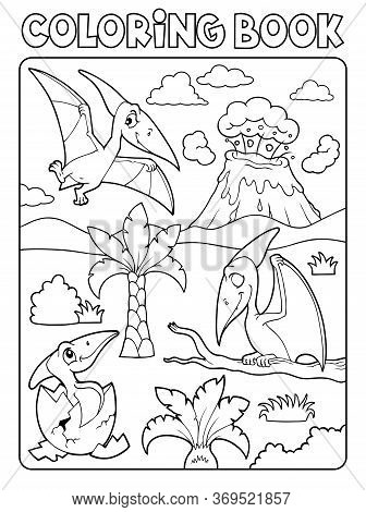 Coloring Book Pterodactyls Theme Image 1 - Eps10 Vector Picture Illustration.