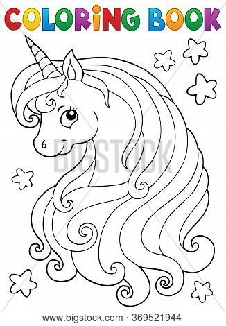 Coloring Book Unicorn Head Theme 1 - Eps10 Vector Picture Illustration.