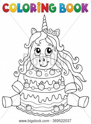 Coloring Book Unicorn With Cake 1 - Eps10 Vector Picture Illustration.