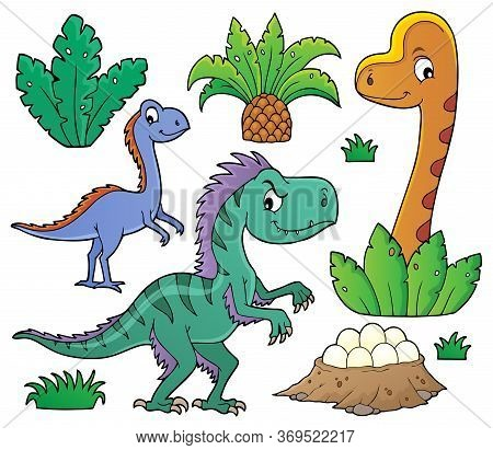 Dinosaurs And Prehistoric Nature Theme Set 1 - Eps10 Vector Picture Illustration.