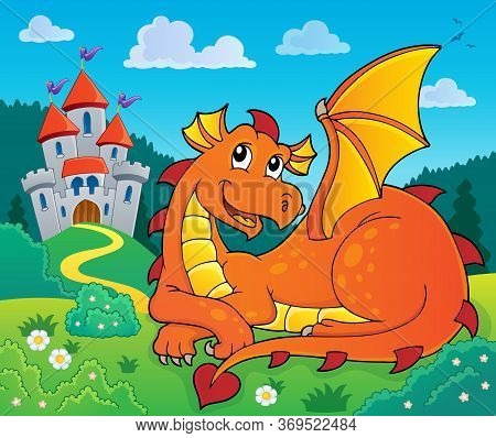 Lying Dragon Theme Image 2 - Eps10 Vector Picture Illustration.