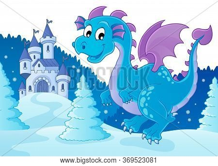 Winter Dragon Theme Image 2 - Eps10 Vector Picture Illustration.
