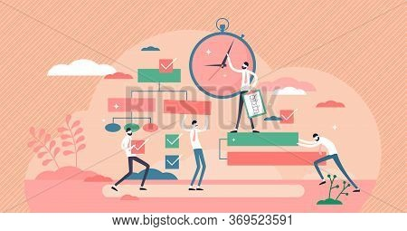 Project Management Process Vector Illustration In Flat Tiny Persons Concept. Business Project Plan E