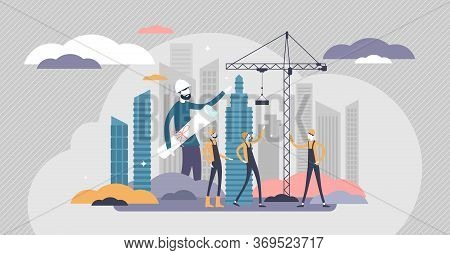 Builders Vector Illustration. House Construction Flat Tiny Persons Concept. Occupation And Professio
