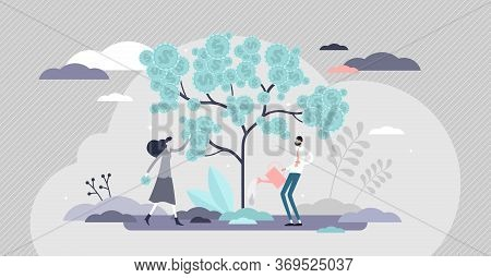 Investing Vector Illustration. Financial Future Flat Tiny Persons Concept. Economical Strategy For M