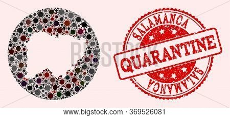 Vector Map Of Salamanca Province Collage Of Coronavirus And Red Grunge Quarantine Seal. Infection Ce