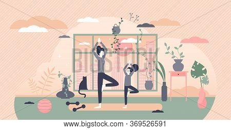 Family Exercise Vector Illustration. Sport Workout Together Parents With Children Flat Tiny Persons