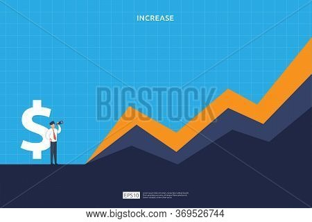 Finance Performance Concept. Business Profit Increase With Growth Up Arrow And People Character. Inc