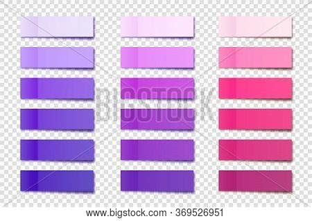 Realistic Sticky Notes Collection. Post Note Stickers. Colorful Sticky Paper Sheets. Vector Illustra