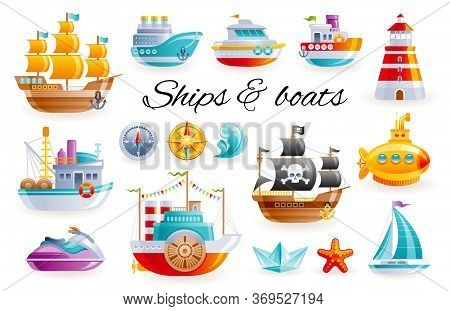 Ship Boat Set, Vector Cartoon Illustration. Sea Toy Transport Collection. 3d Sail Yacht, Ocean Cruis