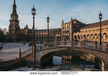 Seville, Spain - January 17, 2020: View Of Plaza De Espana, A Plaza In The Parque De María Luisa, In