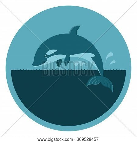 Round Emblem With A Killer Whale, A Orca In A Turquoise Circle With Place For Your Text, An Icon For