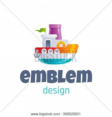 Vector Illustration Of Cute Baby Toy Steamship, Logo Isolated On White Background. 3d Ship Boat. Tem