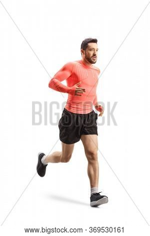 Full length shot of a man jogging isolated on white background