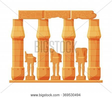 Ancient Egypt Temple Stone Columns Or Pillars, Symbol Of Egypt Flat Style Vector Illustration On Whi