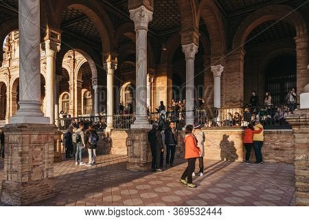 Seville, Spain - January 17, 2020: Large Number Of People On Plaza De Espana, A Plaza In The Parque