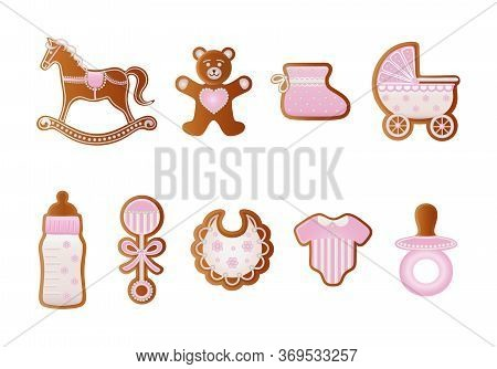 Baby Shower Gingerbreads. Pink Cookies For Baby Girl. Rocking Horse, Bear, Baby Shoe, Baby Carriage,