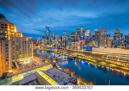 Melbourne City Skyline At Twilight