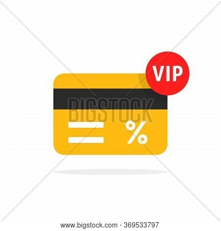 Loyalty Card For Very Important Person. Flat Cartoon Trendy Vip Discount Graphic Art Design Isolated