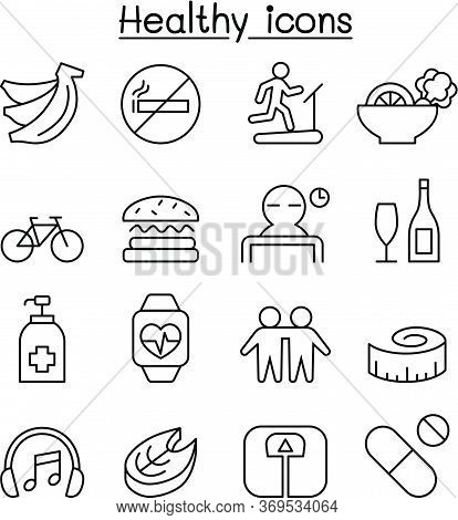 Healthy Icon Set In Thin Line Style