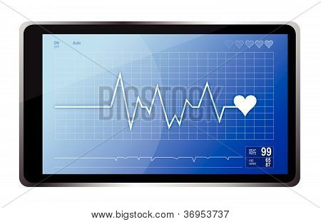 lifeline monitor and computer tablet illustration design poster