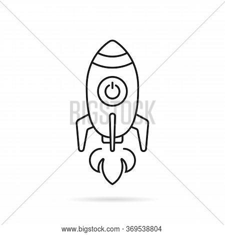 Black Thin Line Rocketship Launch. Stroke Flat Style Trend Modern Lineart Sputnik Logotype Graphic A