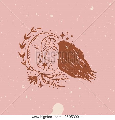 Wild Moonchild Girl. Face Modern Witch Concept. Witchcraft Female Culture. Harmony And Zen. Crescent