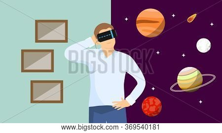 The Virtual Reality. A Man In A Virtual Reality Helmet Fell Into Space And Looks At The Planets. Vec