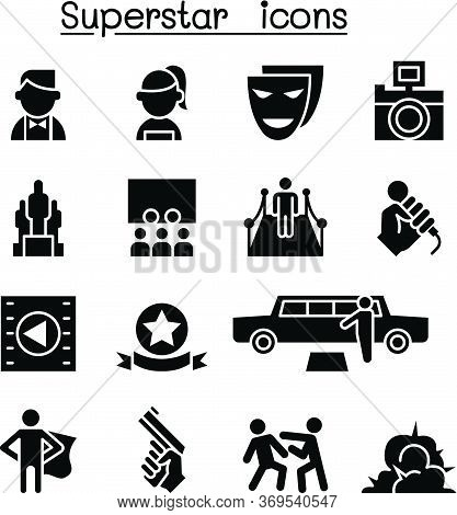 Actor, Actress, Celebrity, Super Star Icon Set Vector Illustration Graphic Design
