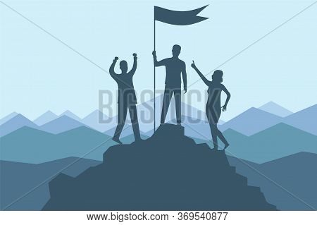 Climbing To The Top Of The Mountain. A Group Of Climbers Climbed To The Top Of The Mountain With A F