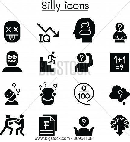 Stupid, Foolish, Silly Icon Set Vector Illustration Graphic Design