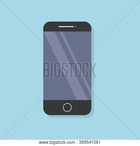 Smartphone Icon In Flat Design Style On Baby Blue Background. Mobile Phone Symbol. Stock Vector Flat
