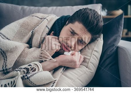 Close-up Portrait Of His He Nice Attractive Sad Sullen Ill Guy Suffering Lying On Divan Healing Suff