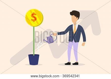 Growing Money Tree Vector Illustration. Businessman Watering Money Tree With Arrow On Background. Bu