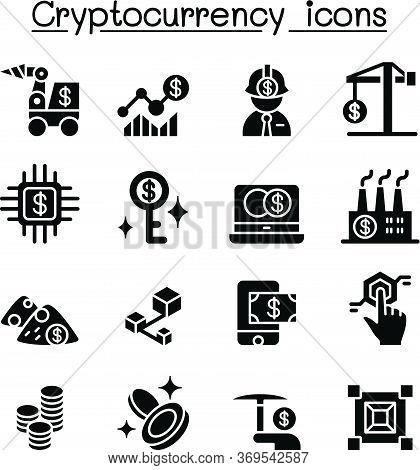 Cryptocurrency , Blockchain & Ico Icon Set Vector Illustration Graphic Design