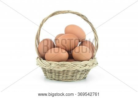 Eggs In The Basket Isolated On White Background With Clipping Path.