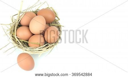 Eggs In The Basket Isolated On White Background With Copy Space For Writing Text .