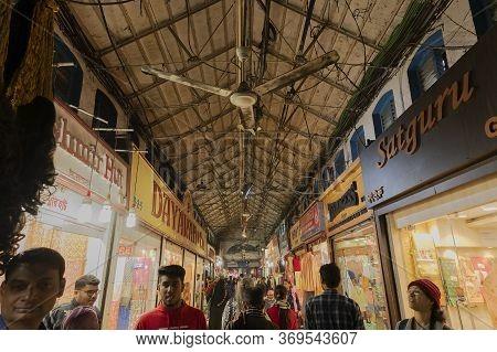 Kolkata, West Bengal, India - 29th December 2019 : People Walking Inside New Market At Esplanade Are