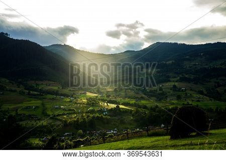 Sunset In The Carpathians. The Carpathians Are A Beautiful Country Of Mountains. Carpathians Are Loc
