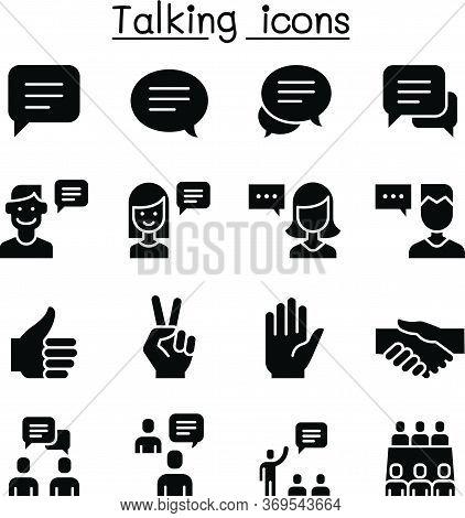 Speech, Discussion, Speaking, Meeting & Hand Language Icon Set