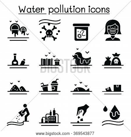 Water Pollution Icon Set Flat Style Vector Illustration Graphic Design