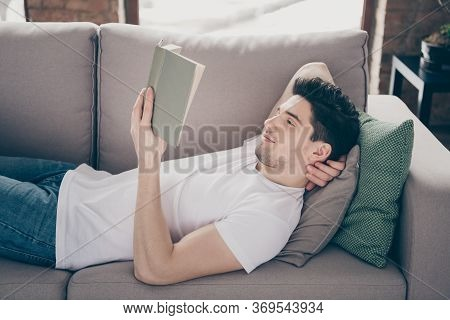 Profile Side View Portrait Of His He Nice Attractive Calm Peaceful Dreamy Focused Guy Lying On Divan