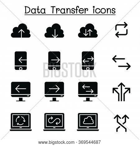 Cloud Computer, Data Transmission, Data Mining, Data Warehouse, Download, Upload Icon Set