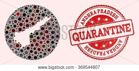 Vector Map Of Andhra Pradesh State Collage Of Covid-2019 Virus And Red Grunge Quarantine Stamp. Infe