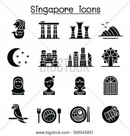Singapore Icon Set Vector Illustration Graphic Design
