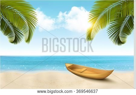 Summer Vacation Background With Tropical Beach, A Palm Tree, Blue Sea And A Pleasure Boat. Vector.